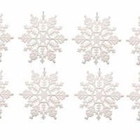 Plastic Snowflake Ornaments,4inch 36pcs Sparkling White Iridescent Glitter Snowflake Ornaments on String Hanger for Decorating, Crafting,wedding and Embellishing(White, 4 Inch)