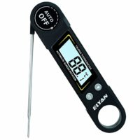 ELYAN Digital Meat Thermometer Talking Instant Read Thermometer Cooking Thermometer BBQ Thermometer with Blue Backlit LCD Display Voice Function for Kitchen Grilling Food Milk Bath Water(BLACK)