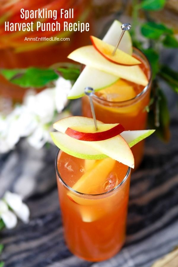 Sparkling Fall Harvest Punch Recipe. For a delicious taste of autumn, mix up this sparkling fall harvest punch recipe to share with friends and family. This easy punch recipe comes together in minutes. Enjoy the crisp, fresh taste of the fall harvest in a glass with this spectacular fall punch recipe.