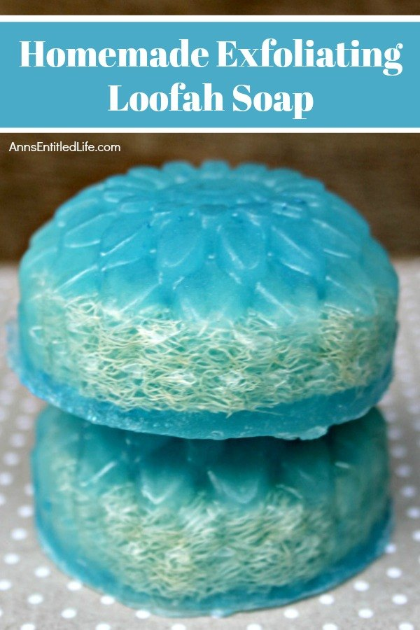 2 blue homemade loofah soap stacked atop one another