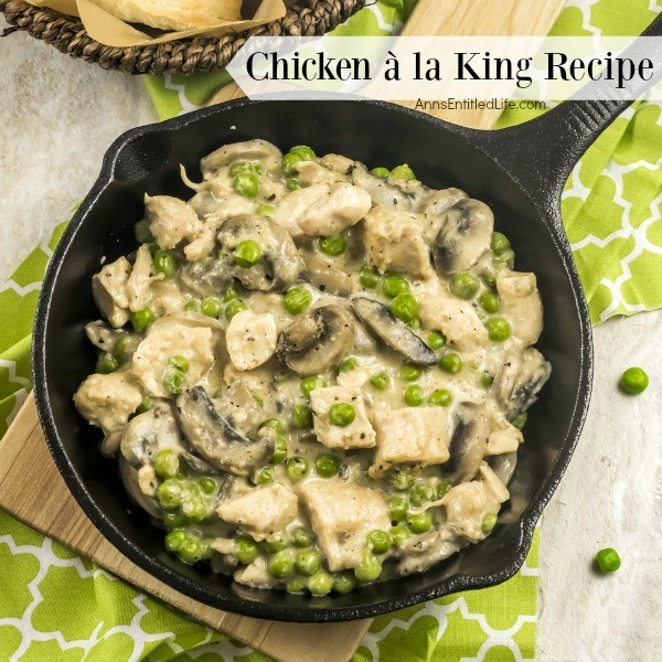 Chicken à la King Recipe. My mother used to make this chicken à la king recipe from scratch when I was a child. This is one delicious, creamy and smooth Chicken à la King Recipe. Serve over biscuits, rice, or eat without a starch – it is all good!