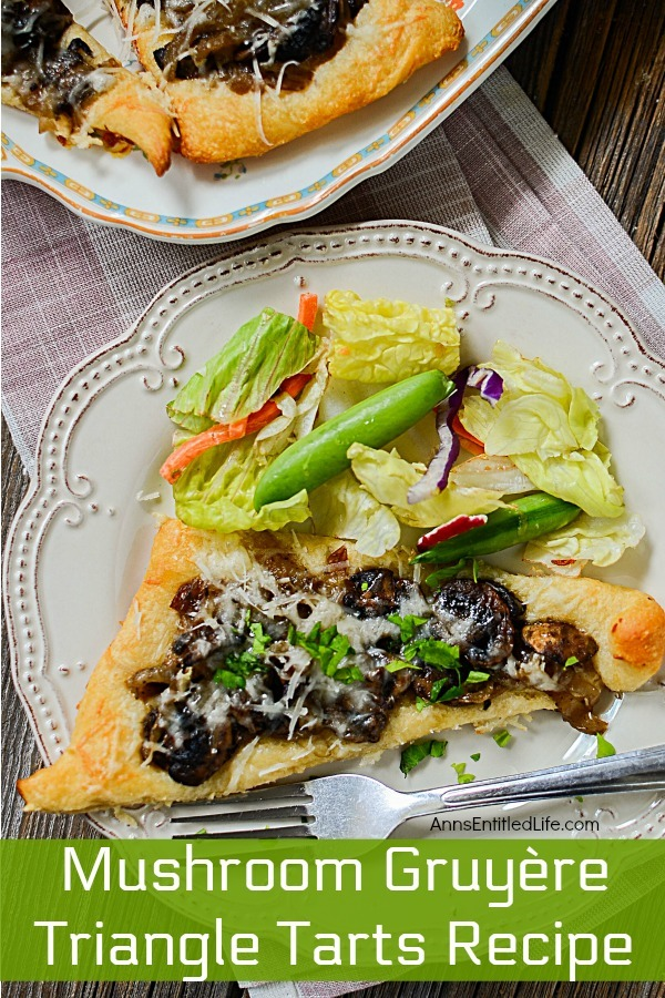 Mushroom Gruyère Triangle Tarts Recipe. A sophisticated, yet simple appetizer or lunch dish, these Mushroom Gruyère Triangle Tarts are super easy to make! Slightly salty, slightly sweet, this delicious little dish is perfect for parties, get-togethers, or when you want something a little different for luncheon.