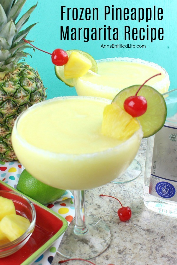 Frozen Pineapple Margarita Recipe. This marvelous and easy to make pineapple margarita recipe is a perfect party cocktail! A tropical delight, this frozen margarita recipe is one delicious adult beverage. Try a frozen pineapple margarita tonight!