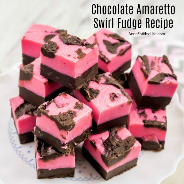 Chocolate Amaretto Swirl Fudge Recipe. A marvelous blending of chocolate, vanilla and almond combine to make this lush and decadent Chocolate Amaretto Swirl Fudge Recipe.
