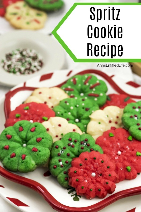 spritz cookies on a christmas plate