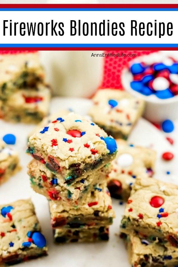 festive red, white, and blue blondies bars on a white plate, M&Ms upper right, milk glass on red polka dot napkin upper center