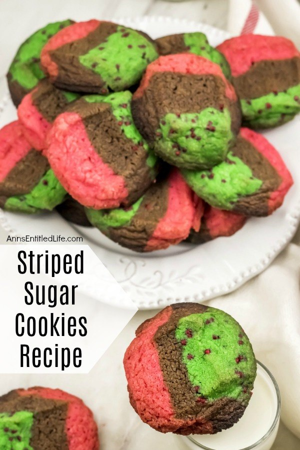 red, green, chocolate striped cookies on a white plate, lower right stack of same zebra cookies on a milk glass, all on a white napkin background