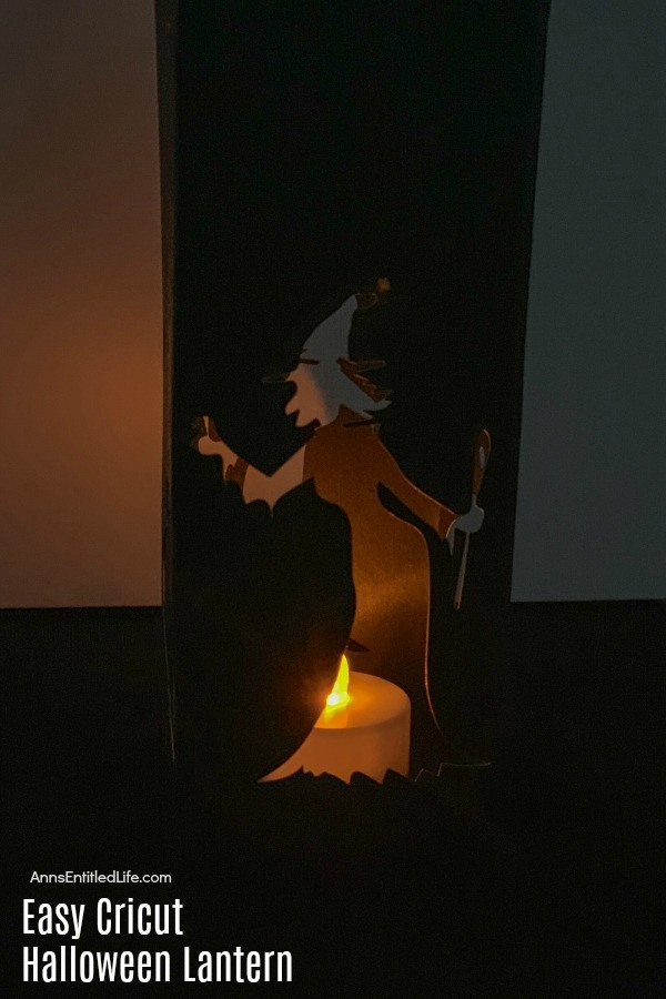black paper witch lantern with tealight flameless candle