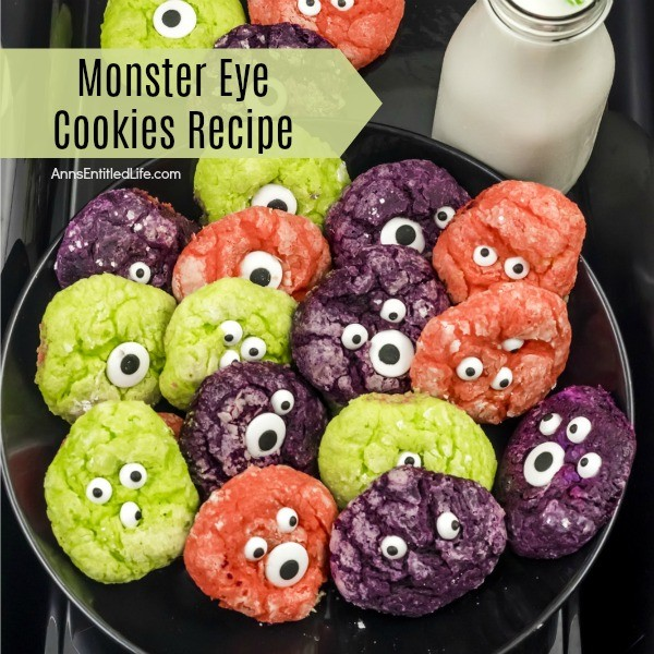 Monster Eye Cookies Recipe. Need a Halloween treat idea? These Monster Eye Cookies are just what you are looking for! These terrific tasting crinkle cookies are easy to make and are perfect for Halloween parties, Monster parties, or an after school snack! These not-so-spooky monster cookies are fun, festive and super cute.