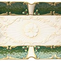Cosmos Gifts 19 3/4-Inch Emerald Holiday Holly Platter