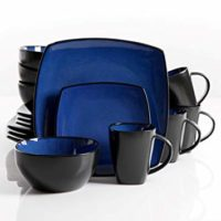 Gibson Elite Soho Lounge Reactive Glaze 16 Piece Dinnerware Set in Blue; Includes 4 Dinner Plates; 4 Dessert Plates, 4 Bowls and 4 Mugs