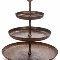 Red Fig Home 3 Tier Cupcake Stand Aluminum with Copper Finish Round Serving Tray Platter for Parties Weddings Birthdays Holidays to Display Dessert Cookies Appetizers Cheese Hors D'oeuvres