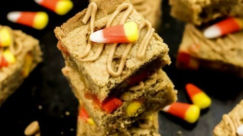 Peanut Butter Candy Corn Blondies Bars Recipe