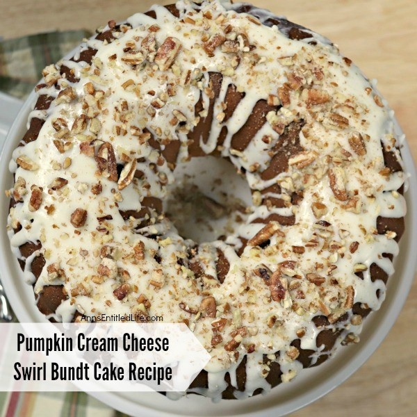 Pumpkin Cream Cheese Swirl Bundt Cake Recipe. This easy to make pumpkin Bundt cake recipe is a wonderful dessert to serve during the fall and holiday season. The moist pumpkin cake and cream cheese filling combine perfectly for a great taste sensation. So, pour a cup of coffee and cut yourself a big slice of this Pumpkin Cream Cheese Swirl Bundt Cake to enjoy for dessert tonight!