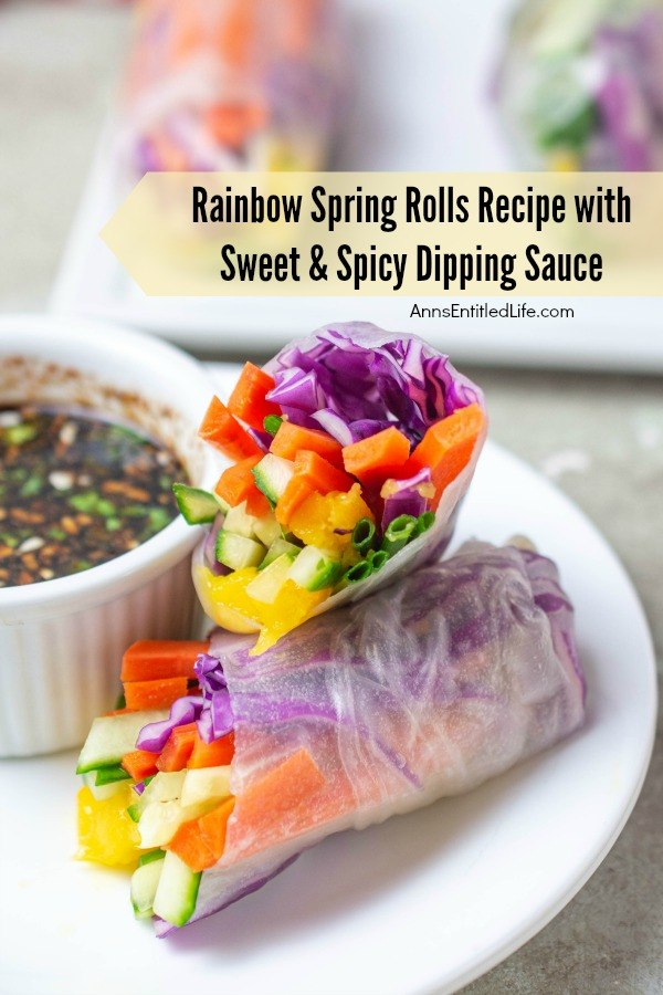 one spring roll sitting on top of another, vegetables showing outward, on top of a white plate, dipping sauce in a white ramekin on the left, two other rainbow spring rolls in the background