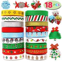 Joiedomi 18Pcs Christmas Ribbons; 90 Yard Grosgrain Satin Fabric Ribbons for Christmas Holiday Gift Box Wrapping, Hair Bow Clips, Gift Bows, Craft, Sewing, Wedding (18PCS One-Size)