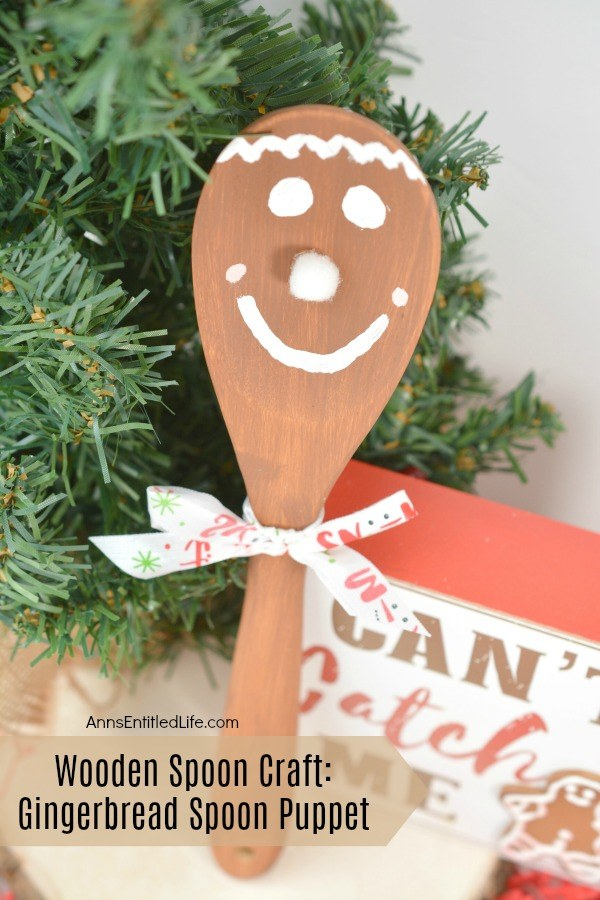 Wooden Spoon Craft: Gingerbread Spoon Puppet. This sweet little gingerbread spoon puppet looks good enough to eat, but it is actually wonderfully fun holiday decor your children (or you) can make quickly and easily by following these step by step directions. Great holiday fun for children of all ages!