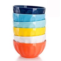 Sweese 106.002 Porcelain Fluted Bowl Set - 26 Ounce for Cereal, Soup - Set of 6, Hot Assorted Colors
