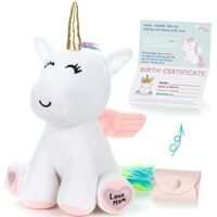 "Unicorn Stuffed Animal - Cute Unicorn Gifts Large 13"" White Unicorns Plush Toy w Pink Wings Rainbow Hair & Writable Pink Heart Paws! Gift Packaged for Graduation, Birthday or Valentines Gift for Girls"
