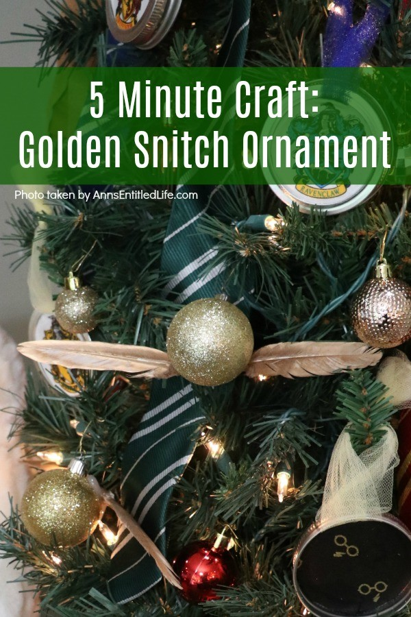 5 Minute Craft: Golden Snitch Ornament. Are you or your children Harry Potter fans? These easy to make golden snitch ornaments come together in under 5 minutes! Perfect for your tree, to give as a gift, or string for holiday decor.