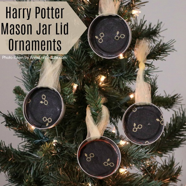 Harry Potter Mason Jar Lid Ornaments. Are you, or your children, Harry Potter fans? These easy to make Harry Potter Mason Jar Lid Ornaments come together in about 10 minutes! These are perfect for your holiday tree, to give as a gift, or for a Harry Potter or Hogwarts themed party.