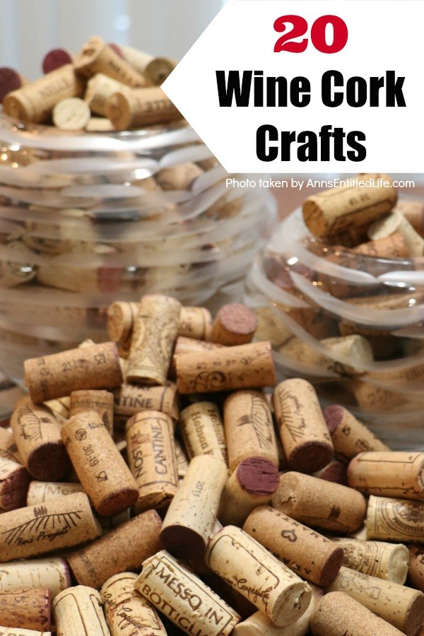a closeup of a collection of wine corks in two glass bowls overflowing onto a wooden table