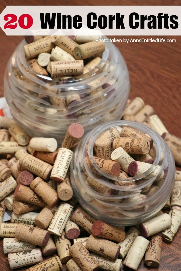 a collection of wine corks in two glass bowls overflowing onto a wooden table