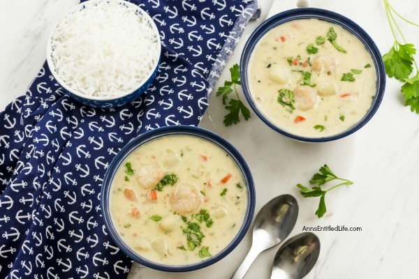 Creamy Seafood Soup Recipe. If you like seafood, you are going to love this fabulous, spicy, easy to make creamy seafood soup recipe! Loaded with shrimp and scallops, this seafood soup can be served by itself, or over rice, for a delicious dinner starter, or lunchtime meal.