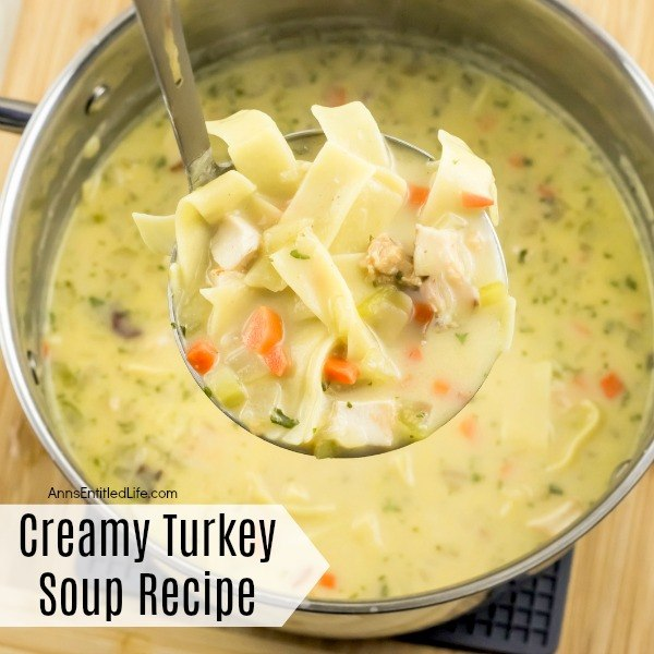 Creamy Turkey Soup Recipe. Use up those turkey leftovers and make this fabulous creamy turkey soup recipe! Loaded with vegetables, turkey, and egg noodles, this soup makes a perfect dinner on a chilly day. This turkey soup recipe is extremely easy to make; it is basically a toss the ingredients into the pot recipe you will not want to miss!