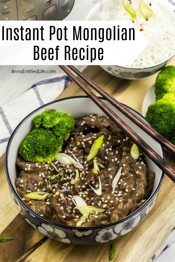 Overhead shot of Mongolian beef in a white, blue-rimmed bowl. The beef is sprinkled with sesame seeds. There are chopsticks resting across the bowl. There is a small bowl of rice in the upper right, a small bowl of broccoli is below that.