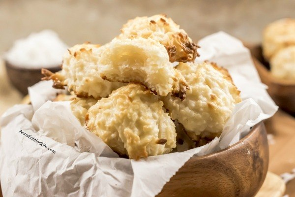Easy Coconut Macaroon Cookie Recipe. Mmmm easy to make, chewy and delicious macaroon cookies are a family favorite. Perfect for tea time, dessert, or a holiday cookie tray, these coconut macaroons are made without eggs, and ready in no time flat. Make a batch today!