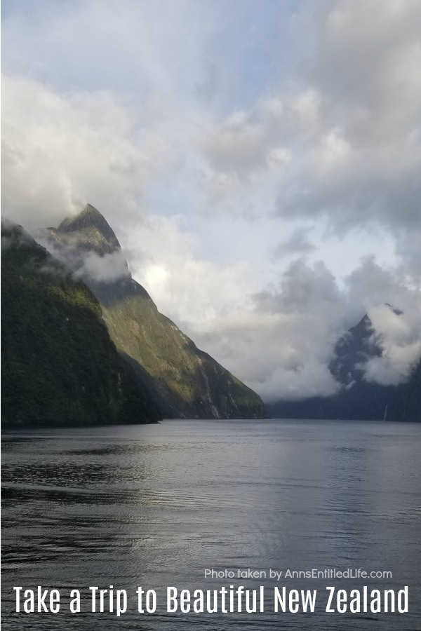 Photo of cloud covered hills in the New Zealand fiords