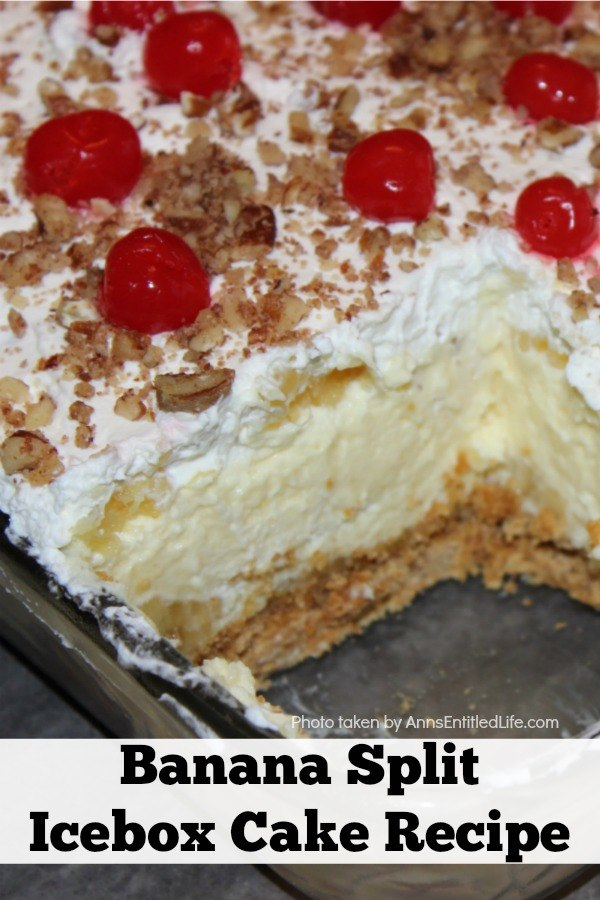 Close up of the inside of a banana split icebox cake in a pan (slice removed to show inside)
