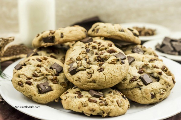 Brown Butter Pecan Chocolate Chunk Cookies Recipe. These fabulous brown butter pecan chocolate chunk cookies have a whiskey spiked nutty brown butter flavor with a large helping of chunks of chocolate. All your favorite cookie flavors packed are into one terrific cookie recipe! Your friends and family will love the chocolatey-nutty combination in this fantastic cookie recipe.
