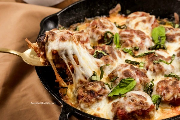 Cheesy Meatball Bake Recipe. This fresh take on the classic cheesy meatball casserole recipe is made in a skillet pan, taking this recipe from stove to oven in one cooking container. Take your ground beef to new heights; make this easy cheesy meatball bake recipe for dinner tonight! Yum!