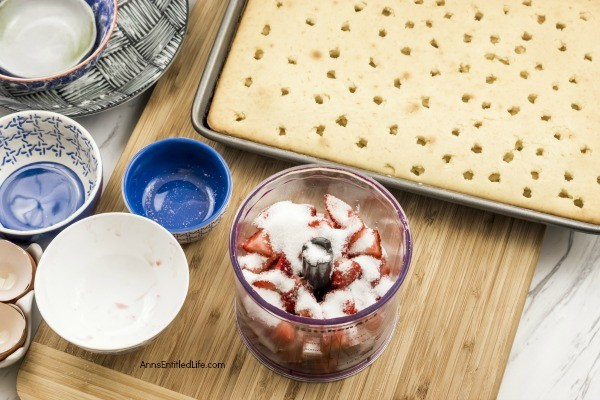Strawberry Vanilla Poke Cake Recipe. This old fashioned, from scratch, vanilla poke cake uses fresh, homemade strawberry syrup for a natural fruity taste. This from scratch cake is easier to make than you think! Make this delicious strawberry vanilla poke cake recipe today!