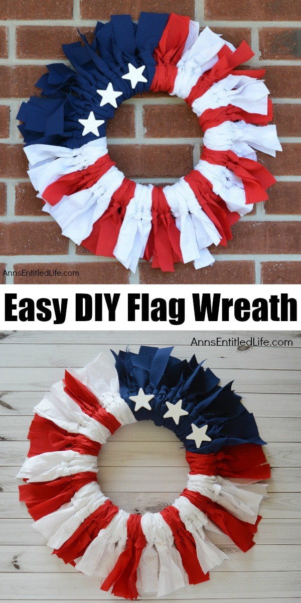 A red, white, and blue wreath with several stars hanging on a brick wall is the top image, the same wreath is in a bottom image against a shiplap background