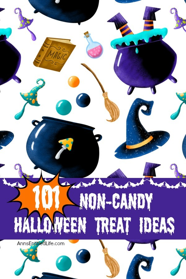 A cute cartoon of witch's cauldrons, potion bottles, hats, spell books, and various colored bubbles