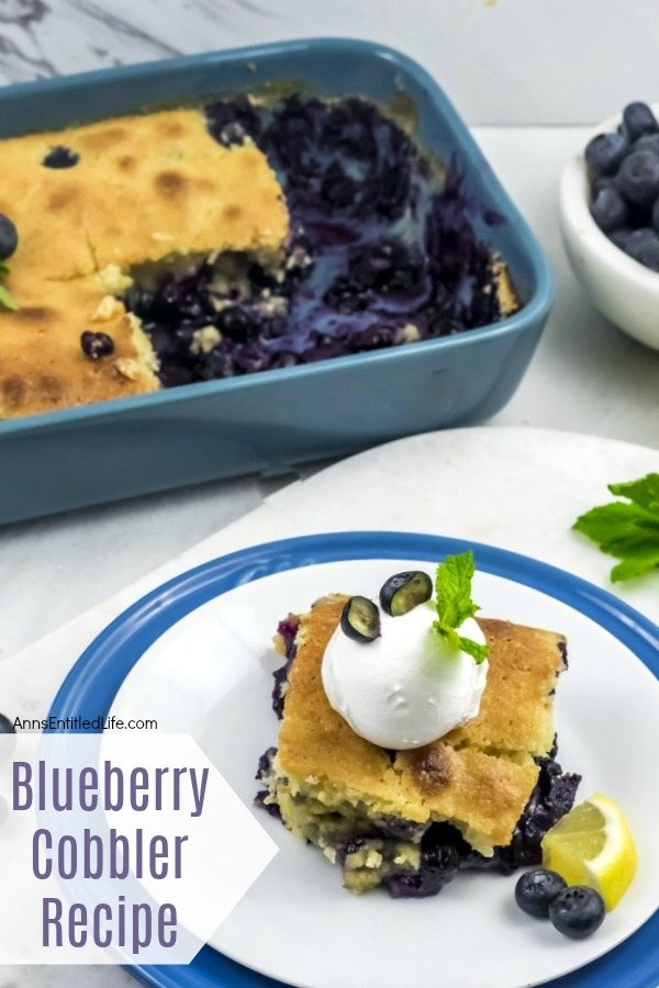 Overhead view of a blue plate underneath a white plate, a serving of blueberry cobbler on top of the white plate. The remaining pan of blueberry cobbler is in the upper left, a white bowl of fresh blueberries is in the upper right.