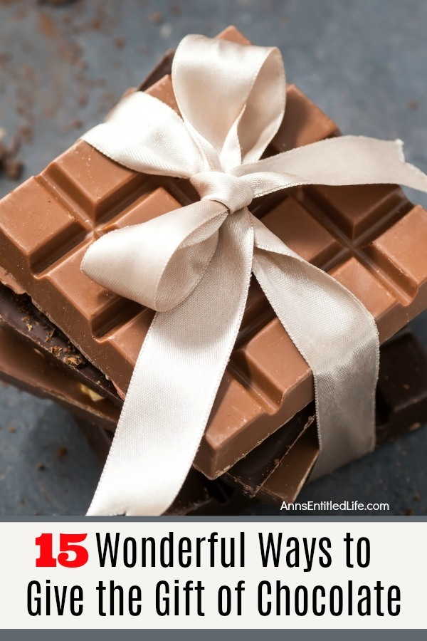 overhead shot of a stack of chocolate wrapped with a light color ribbon