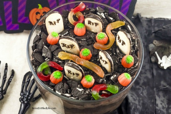 Graveyard Trifle Recipe. Ghosts, goblins, and ghouls will enjoy the fanciful graveyard scene on this tasty trifle recipe. The step-by-step instructions on how to make this graveyard trifle recipe are easy to follow. If you are looking for an easy Halloween dessert recipe your whole family will enjoy, this trifle is for you!