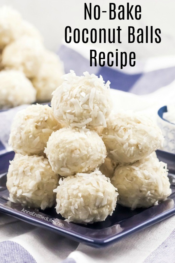 A dark blue plate filled with no-bake coconut balls. This is set upon a blue checked napkin.