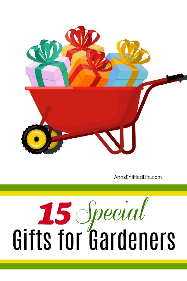 A red wheelbarrow filled with colorful presents.