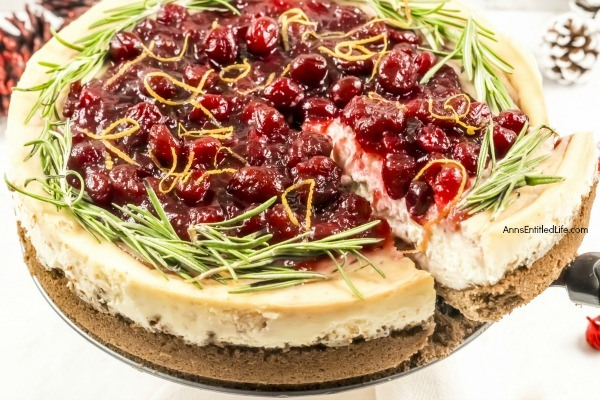 Cranberry Sauce Cheesecake Recipe. This delicious cheesecake is perfect for holiday dinners, parties, and get-togethers. It is a creamy and delectable cheesecake, with just a touch of tartness and spice from the gingerbread crust. Go ahead, delight your taste buds with this Cranberry Sauce Cheesecake this holiday season!