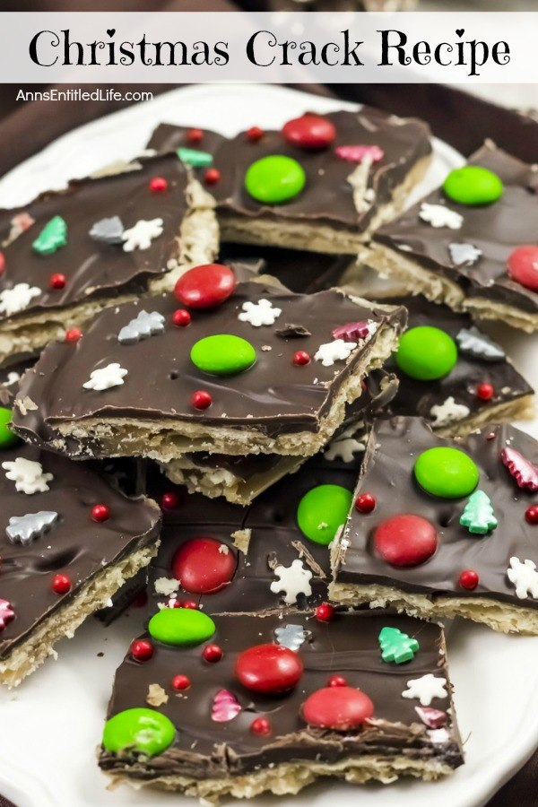 Upclose photo of a plate of homemade Christmas crack candy.