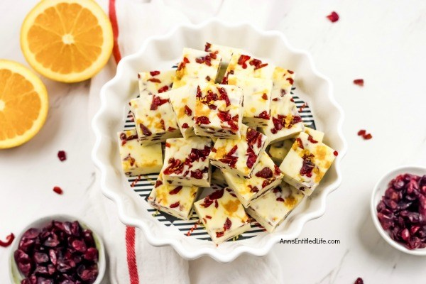 Cranberry Orange Fudge Recipe. Cranberry and orange is a terrific pairing and this sweet, creamy, and delicious fudge recipe incorporates that fantastic taste combination for a perfect holiday fudge recipe. Using just five-ingredients, this fabulous cranberry orange fudge recipe comes together quickly. This is a wonderful holiday sweet treat.