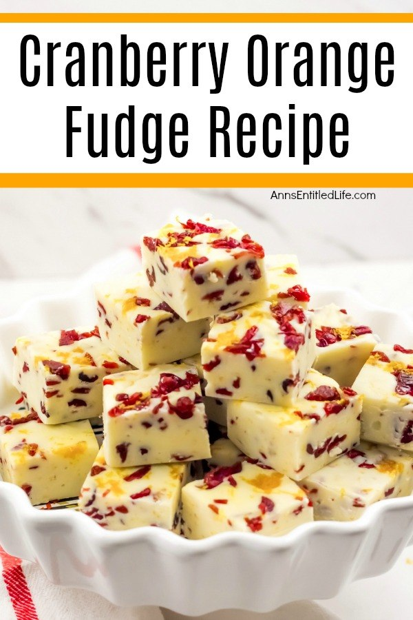 A white bowl fills with a stack of cranberry orange fudge pieces.