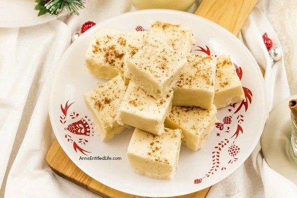 Eggnog Fudge Recipe. If you like the great taste of eggnog, you are going to love this fantastic eggnog fudge recipe. This sweet and creamy holiday fudge is perfect for homemade gift giving, your holiday dessert tray, or a special treat for your family. This is one terrific fudge recipe.