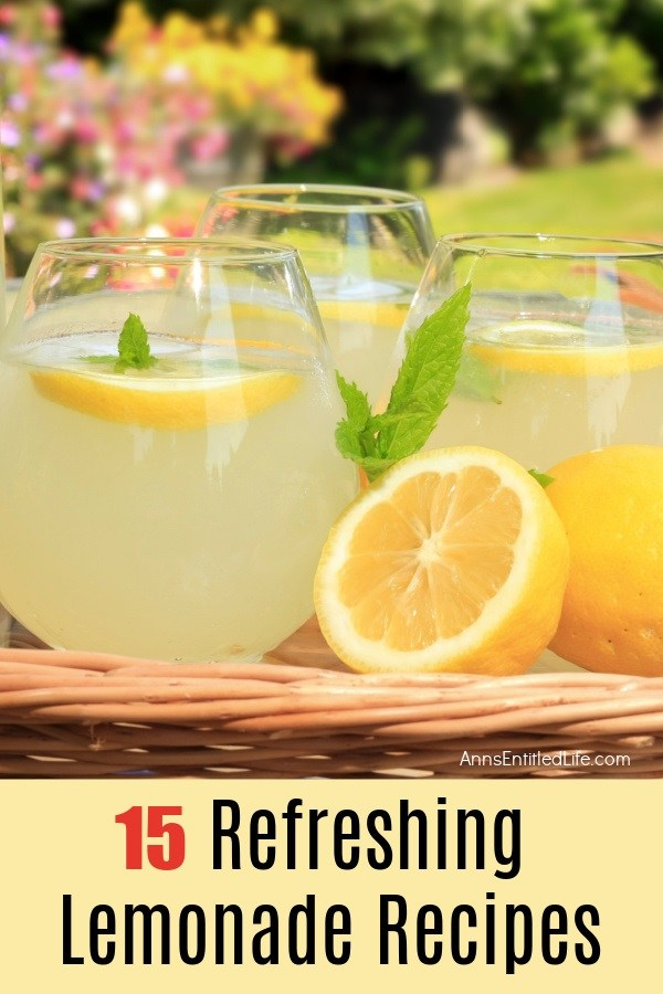 Three glasses filled with lemonade, a cut lemon sits in front of them, there is backyard foliage in the background