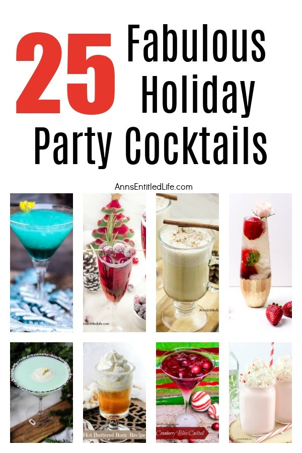 A collage of 8 holiday cocktails